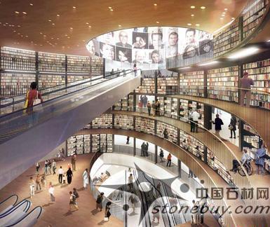 新图片展示了百年广场上的户外剧院设计以及图书馆中央圆形大厅.