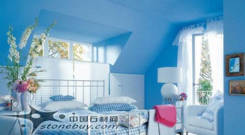 6款蓝色卧室背景墙(组图)